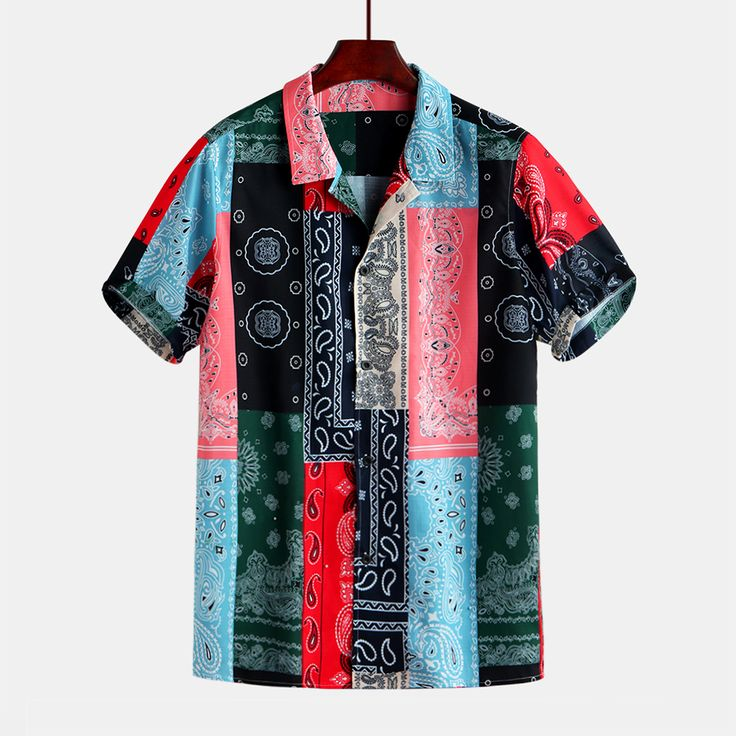 Men Colorful Bandana Print Short Sleeve Revere Shirts