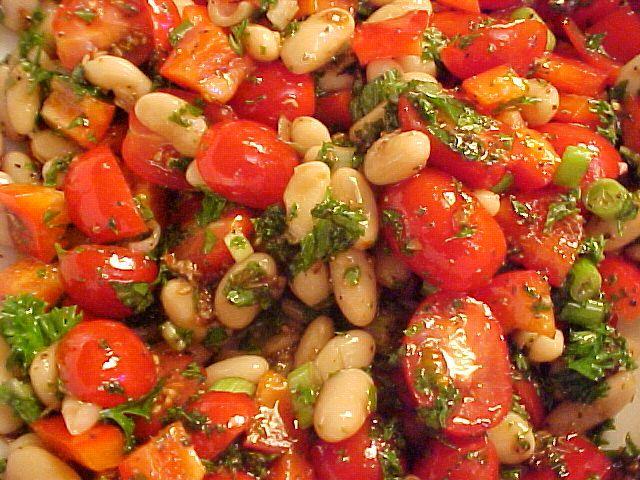 la table en fête  : Salade de haricots blancs aux herbes fraîches,vina...