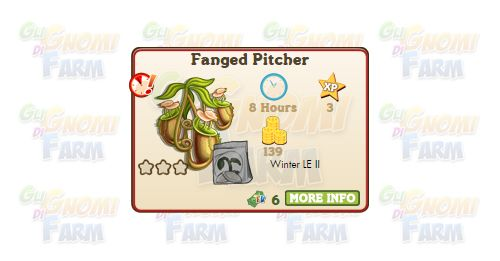 Nuova coltivazione a Ed. Limitata disponibile nel Market fino al 02/02/2016: Fanged Pitcher  Nuova coltivazione a Edizione Limitata disponibile nel Market nel Market dal 04/12/2015 fino al 02/02/2016  Fanged Pitcher  Livello minimo: 5  Matura in: 8 ore  Costa: 60 Coins  Fa guadagnare 3 XP  Rende: 139 Coins  Mastery: 600 / 600 / 600 (tot. 1.800)  Per piantare Fanged Pitcher è necessario acquistare una licenza da 6 FV Cash!