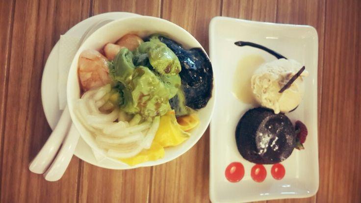 Taiwan dessert with choco lava