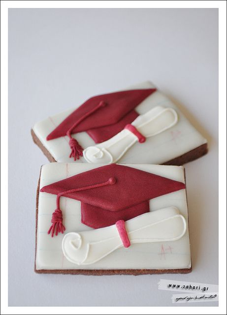 Sweet graduation cookies on a simple square cookie cutter.