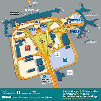 Aller à Orly  Aller à Orly  Réservez  La plate-forme aéroportuaire dOrly est située à 14 km au sud de Paris. Laéroport est composé de deux terminaux aéroport Orly Ouest aéroport Orly Sud. il vous faudra certainement le plan de laéroport si vous voulez vous repérer facilement.Ladresse dOrly est facile puisque cest simplement Orly.  plan-orly  Les deux terminaux Orly-Sud Orly-Ouest sont séparés dune distance de deux kilomètres.  Plusieurs moyens de transport sont à votre disposition. Le car…