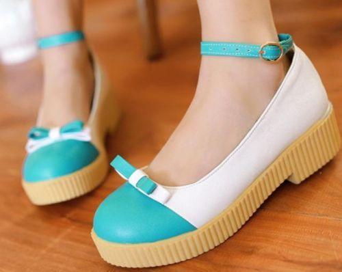 Womens Contrast Color Bow Tie Ankle Strap Mid Heel Pumps Shoes Plus Size 002 | eBay