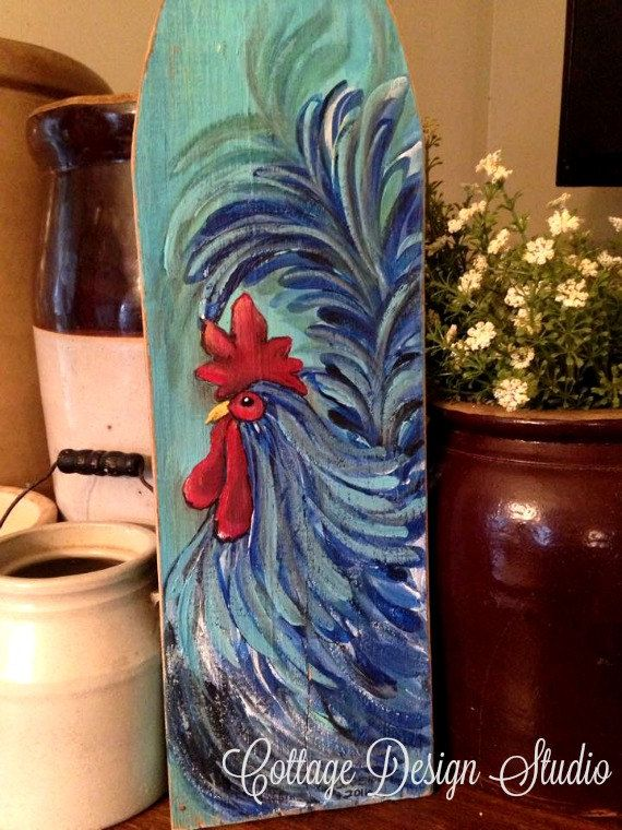 rooster farrmhouse painting picket fence by CottageDesignStudio 32.00 rooster décor, kitchen rooster décor, farmhouse decor