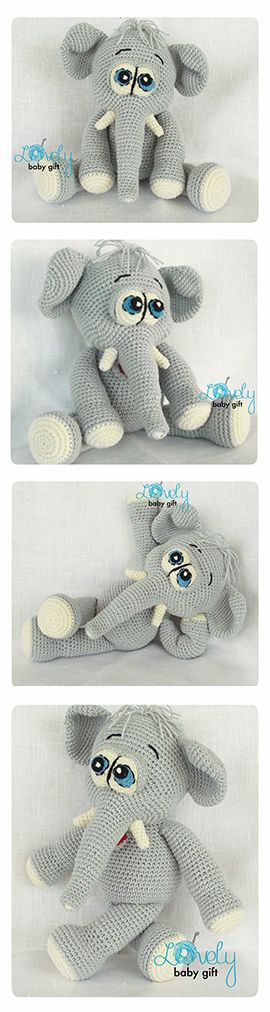 Crochet Pattern - Amigurumi Elephant Pattern, amigurumi pattern, animal crochet https://www.etsy.com/listing/159046665/elephant-crochet-pattern-amigurumi?ref=shop_home_active_6
