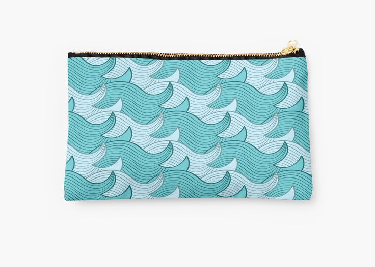 California Surf Wave Pattern Illustration by Gordon White | California Surf Small Studio Pouch Available @redbubble --------------------------- #redbubble #stickers #california #losangeles #la #surf #wave #cute #adorable #pattern #studiopouch #pouch #bag