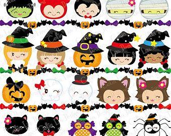 Imágenes Prediseñadas de HALLOWEEN, Happy Halloween sonriente cara Digital Clipart, KAWAII Halloween niño clip art / frontera de Halloween / instante descargar (CG081)