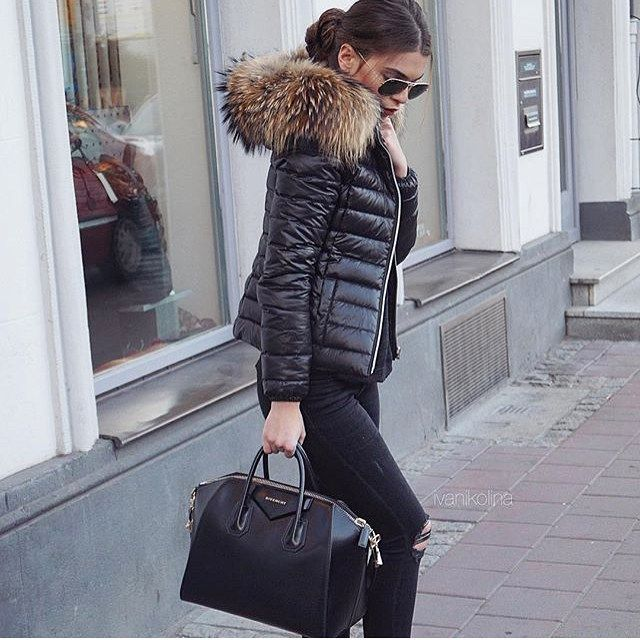 ALL BLACK EVERYTHING  WeLoveFurs DownJacket + black Jeans = pure glamour ◾️  Thanks to the amazing @ivanikolina - perfect shot!   Jacket: http://www.welovefurs.com/en/down-coats-with-fur/123-down-jacket-with-fur-hood.html