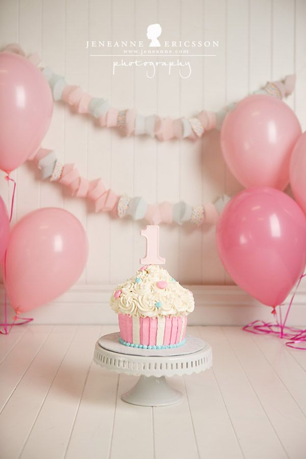 Miss M is One – Healdsburg Cake Smash Photographer » Jeneanne Ericsson Photography pink, white and blue giant cupcake first birthday girl