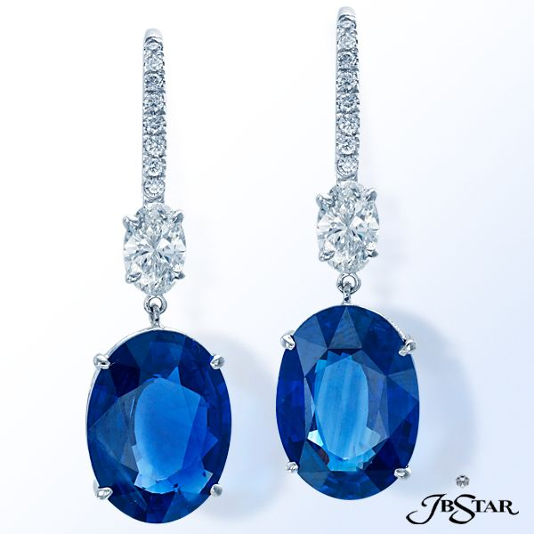 Style 1199  Blue sapphire and diamond earrings featuring two certified Sri Lanka oval sapphires, 16.41 ctw, suspended from two oval diamonds. Platinum #sapphireearrings #sapphire #earrings