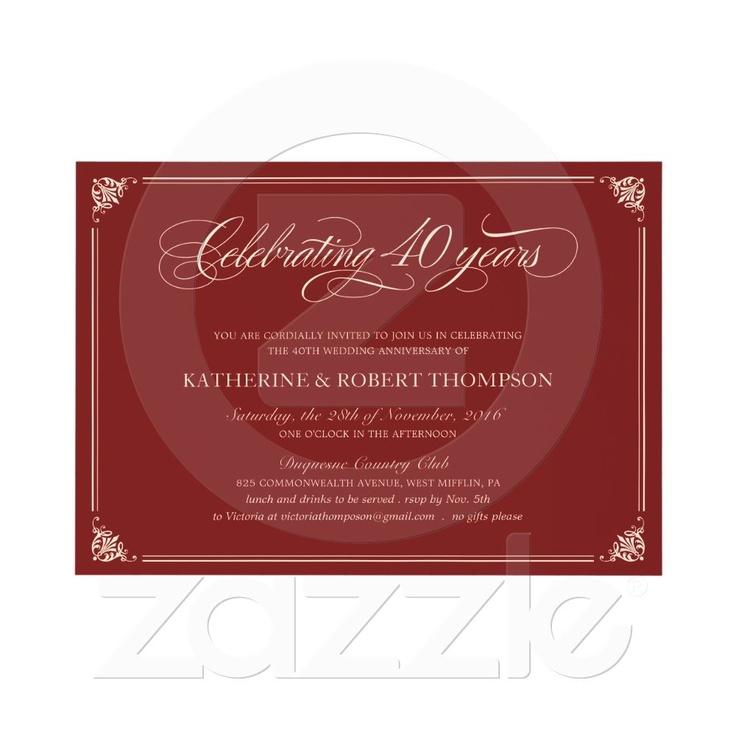 sapphire wedding anniversary invitations%0A Formal Ruby   th Anniversary Invitations on Zazzle co nz