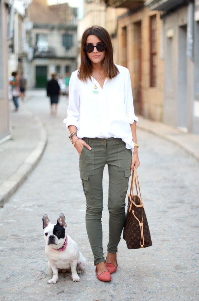 white button up, olive cargos, cute flats