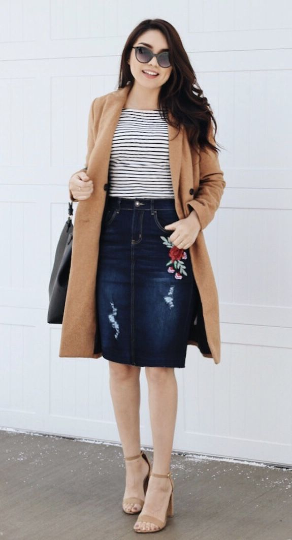 Denim Floral Detail Skirt