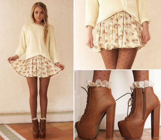 sweaters with skirts, heeled boots, nylons, frilly socks