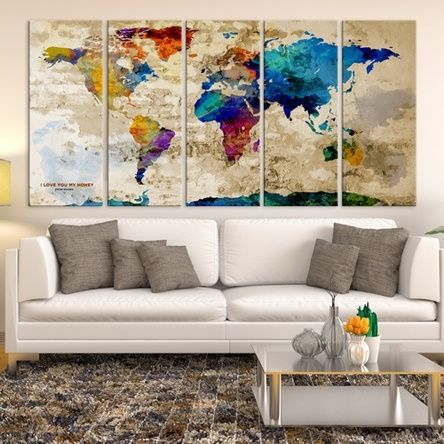 10 best watercolor world map canvas images on pinterest world large world map wall art canvas print navy blue watercolor world map travel canvas print world map wall art world map canvas print gumiabroncs Choice Image