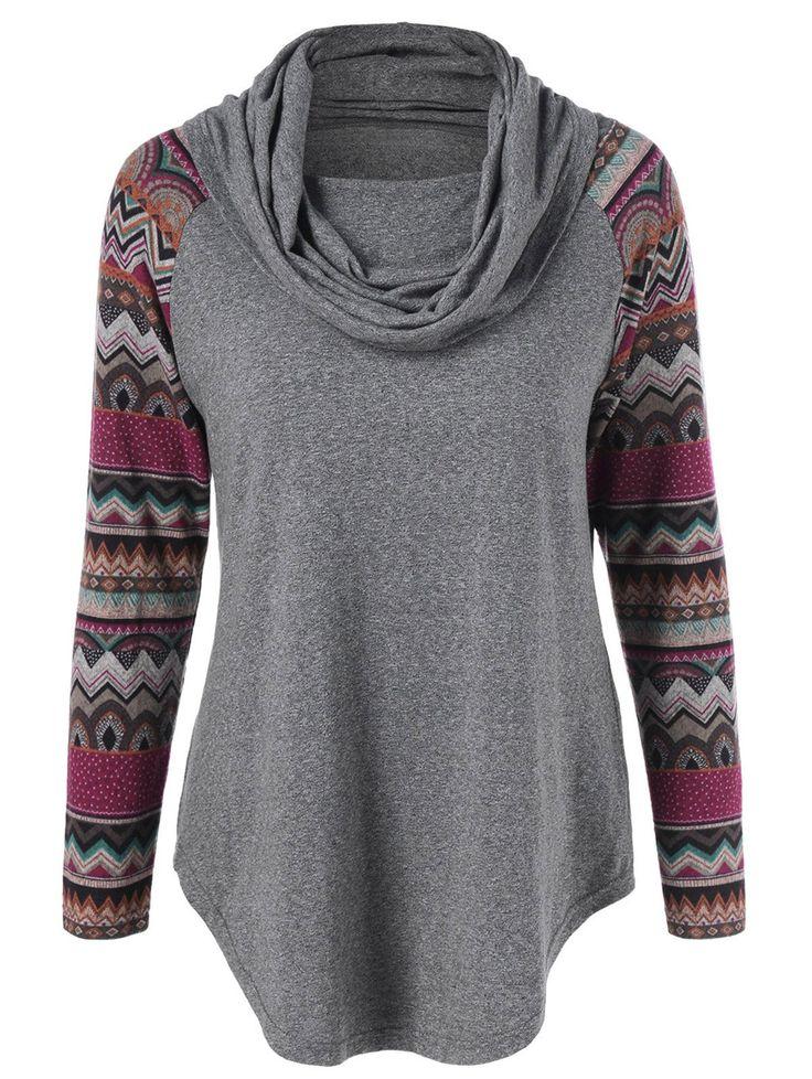 $8.47 for Tribal Trim Curved Hem T-Shirt in Gray | Sammydress.com