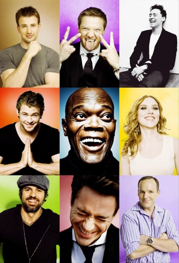 Part of the Avengers cast -- smiling after saving the world... (even Loki ;-)