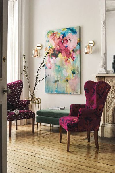 Wine Colored Wingback Chairs In Mismatched Fabrics