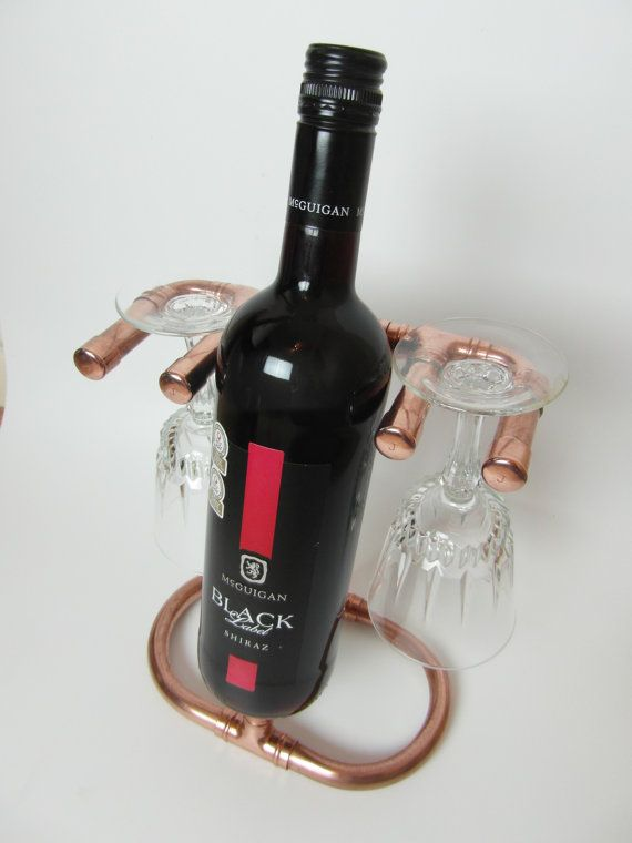 Copper Wine Bottle Stand With Two Glass Holders / by bibbybespoke