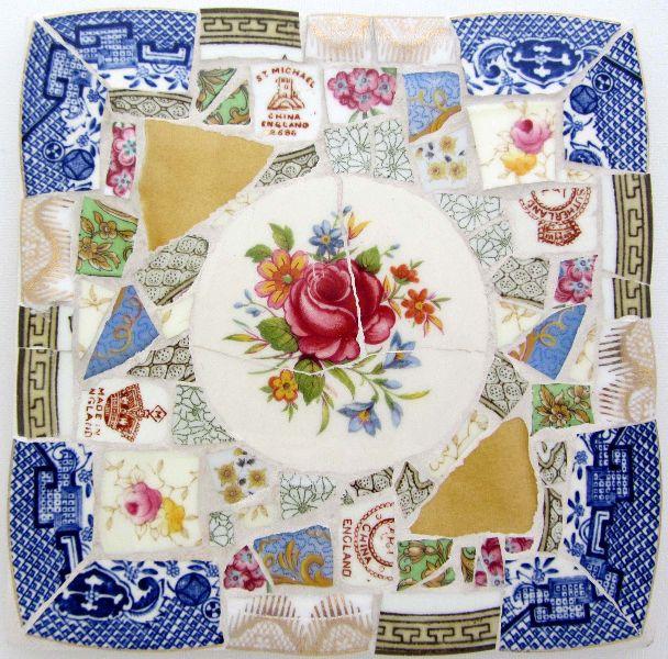 Smashing China Mosaics Rose Tea Pot Stand 15 cm square 25 quid