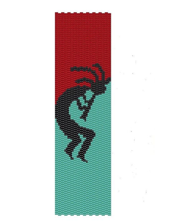 Kokopelli Peyote Pattern - Native American jewelry peyote cuff pattern - Buy two patterns and get the third one for free.