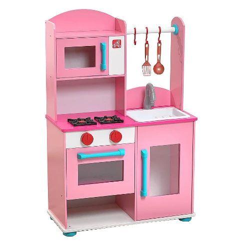 Best Step2 Pink Midtown Modern Wood Kitchen Wooden Play 400 x 300