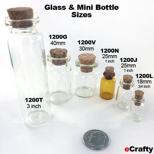 Mini bottle sizes - comparison from eCrafty.com - great for charms, snowglobes, filled pendants, potions, craft storage #bottles #minibottles #glassbottles #crafts #beads #diy #storage #ecrafty