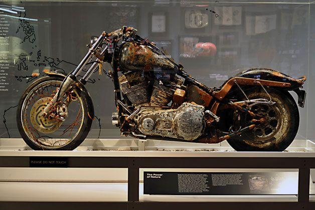 Harley-Davidson Museum opens tsunami motorcycle exhibit. Ikuo Kokoyama lost the motorcycle in the tsunami, then when it was found washed up in a container box on the shore of British Columbia, Harley Davidson offered to restore it. But Yokoyama told them to keep it as it was, tattered & corroded, as a memorial to all the victims of the 2011 earthquake and tsunami.  He lost his home and three family members.