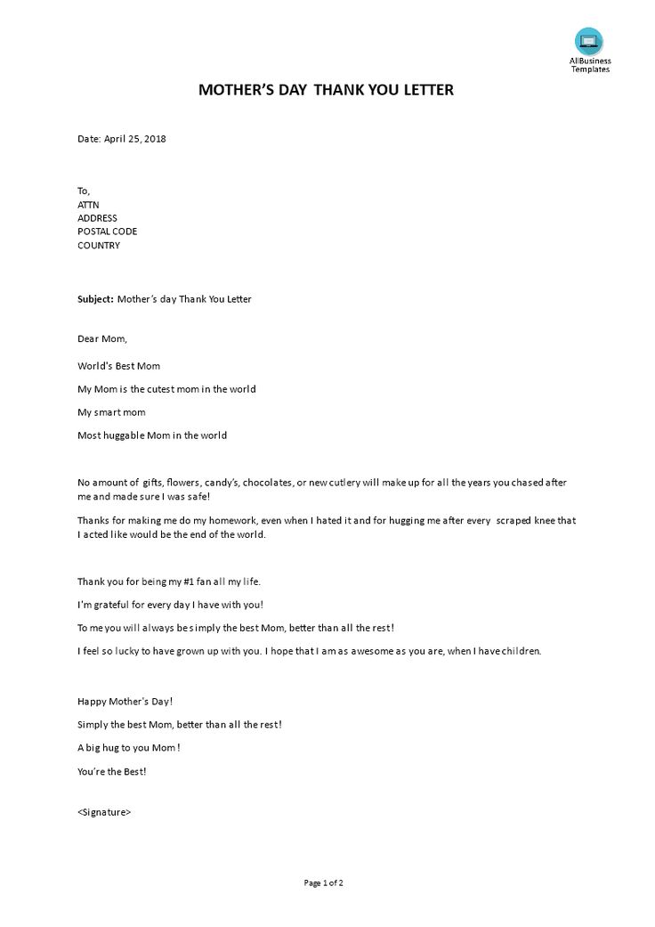 Mother day Letter - What is the date of Mother's Day in 2018? Looking for a nice Mothers Day Letter template? Download this mothers day letter template now!