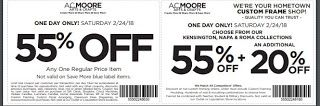 Go Couponing Now: AC MOORE Coupon Today 55% OFF