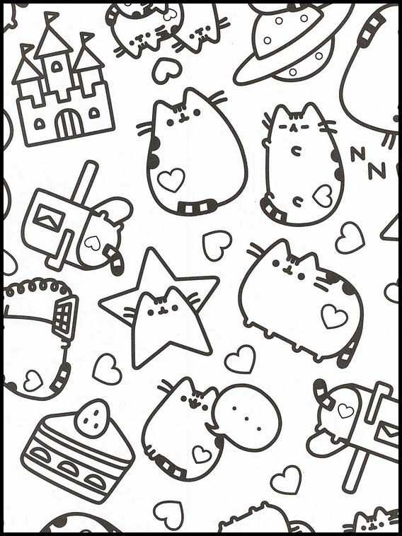 Pusheen 49 Printable Coloring Pages For Kids Cute Coloring Pages, Coloring  Book Pages, Cartoon Coloring Pages