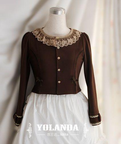 悠兰达  沙仑玫瑰(纯棉/羊毛)针织咖啡色圆领开衫百搭小外套