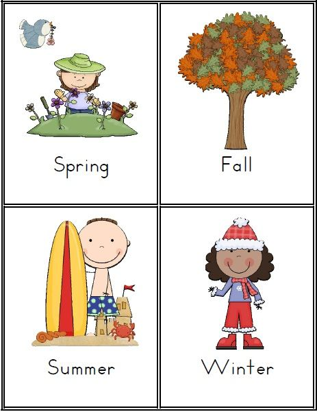 Seasons and Weather Vocabulary Cards Introduce the weather elements by asking children to identify the types of weather that you see in your region and then country and also other parts of the world. $