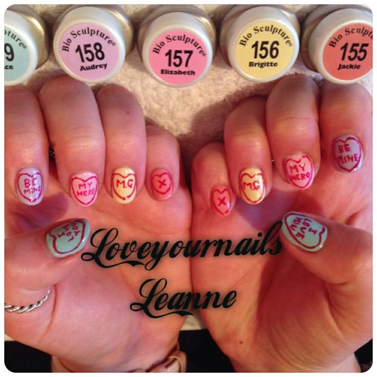 #nailart #biosculpture #nails #loveyournailsleanne #lovehearts #sweets