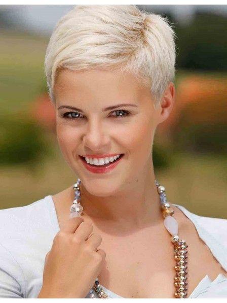Short Pixie Cut Ladies White Wig