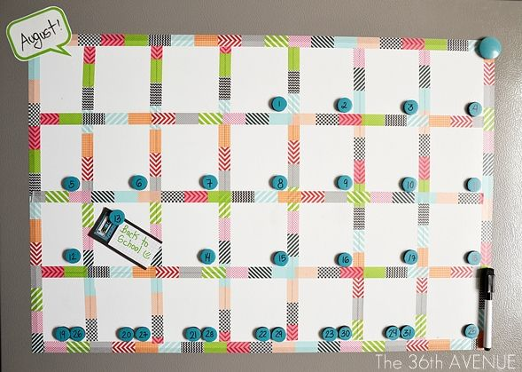 Top 10 Back to School Ideas | Pinterest | Magnetic white board, Washi tape calendar and Refrigerator