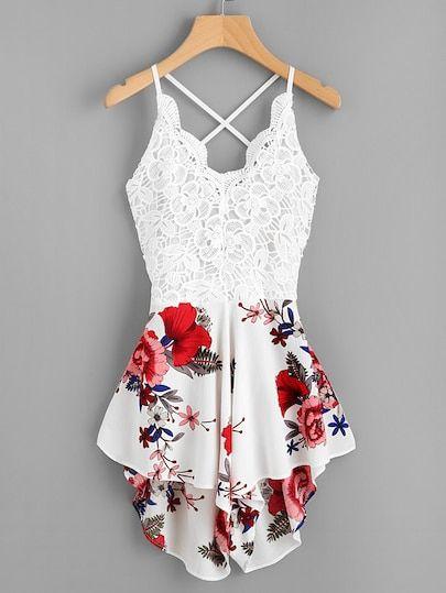 cuteshopp.com Crochet Lace Panel Bow Tie Back Florals Romper [jumpsuit170711001]…
