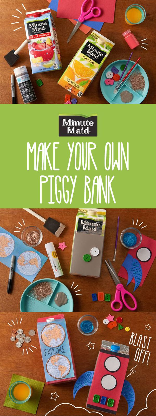 Turn your favorite Minute Maid juice drink carton into a fun DIY piggy bank project.