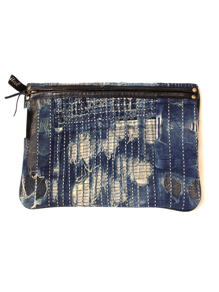 .Modern boro- visible white stitch with sewing machine. Kapital