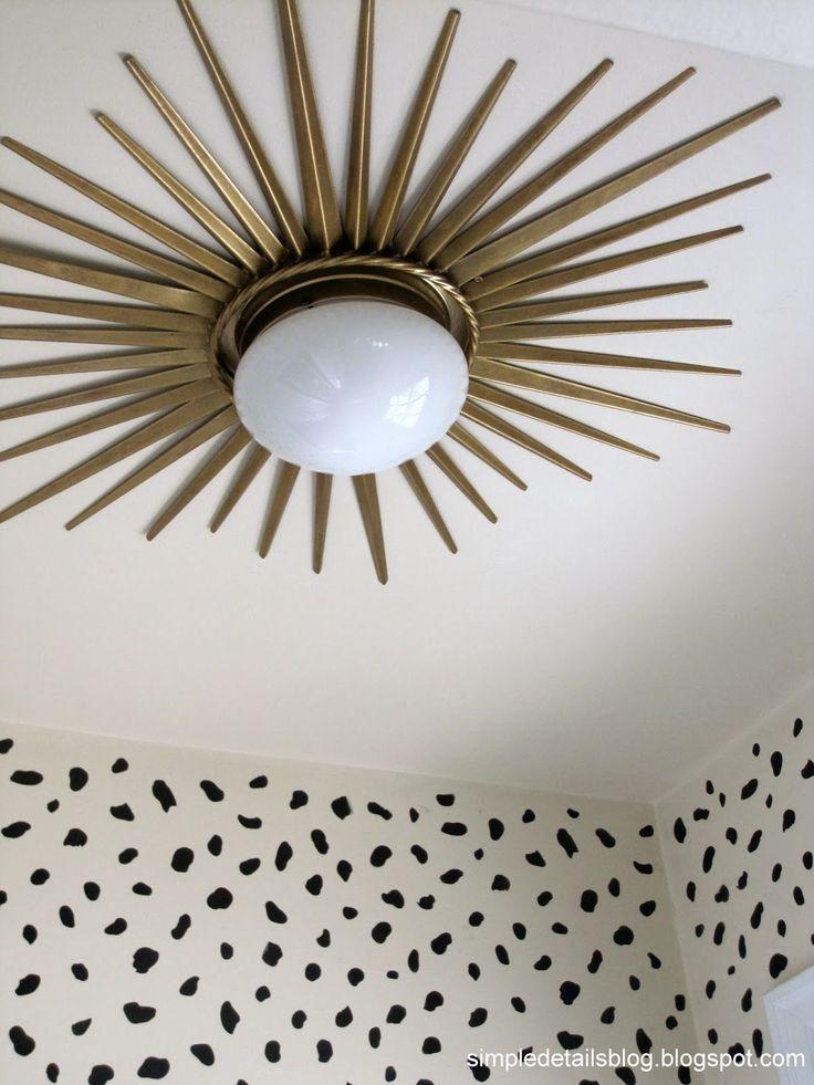 DIY gold sunburst flush mount light
