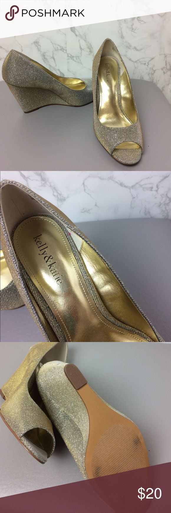 """KELLY & KATIE Size 9 Neutral Metallic Wedge Heel KELLY & KATIE heels.  Size 9.  Neutral sparkle metallic fabric. This color would go with silver or gold! Wedge heel.  4"""" heel.  Shoes have been tried on in store only- NEW! Kelly & Katie Shoes Wedges"""