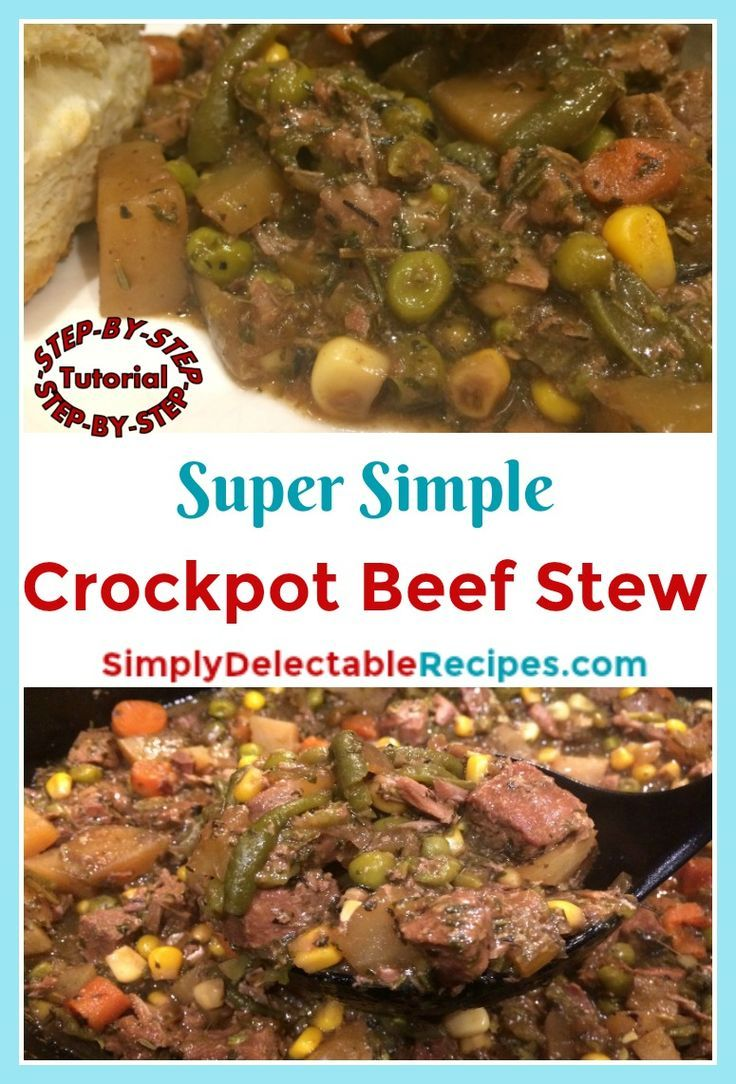 Want a delicious dinner that doesn't take any work? This super simple beef stew is made just dumping everything in the crock pot! Just layer in your meat and vegetables, add beef gravy and spices and come back hours later to a wonderful meal. via @jacquelineSDR