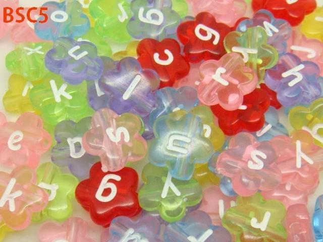 $2.15  11.2x4.2mm Mixed Flower Acrylic Alphabet Letter Charm Beads #Eozy