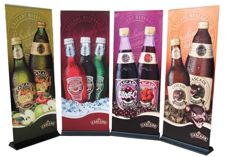 Retractable pull up banner for a beverage company.