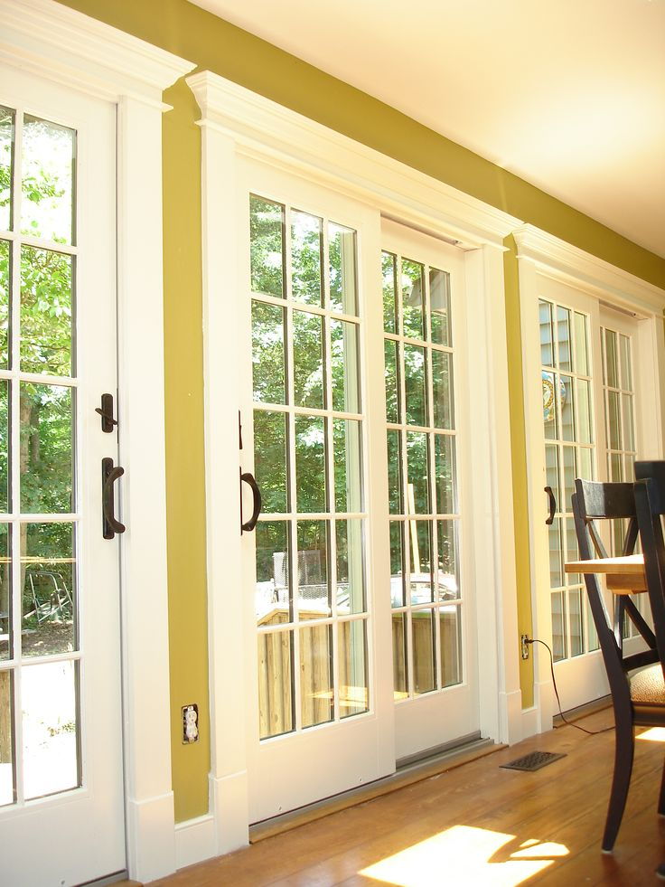 These are the Anderson 400 Series sliding patio doors with custom trim casing. We replaced French Style doors