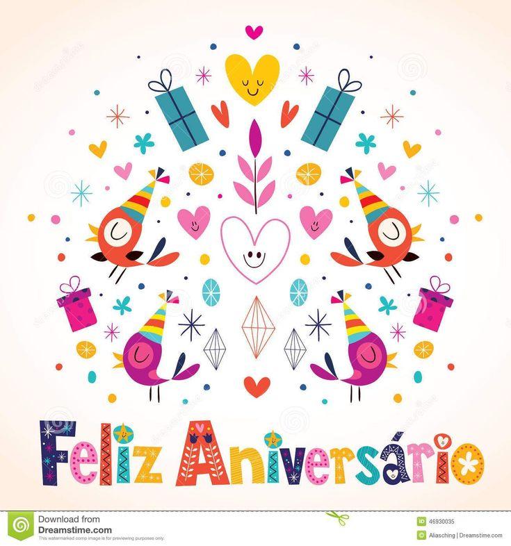 Aniversário de Feliz Aniversario Brazilian Portuguese Happy Foto de Stock  Royalty Free #brazilianportuguese