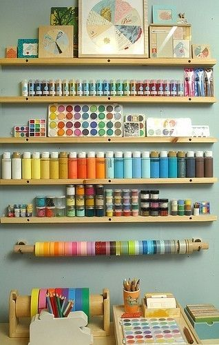 narrow shelves for craft supplies turns clutter into inspiration