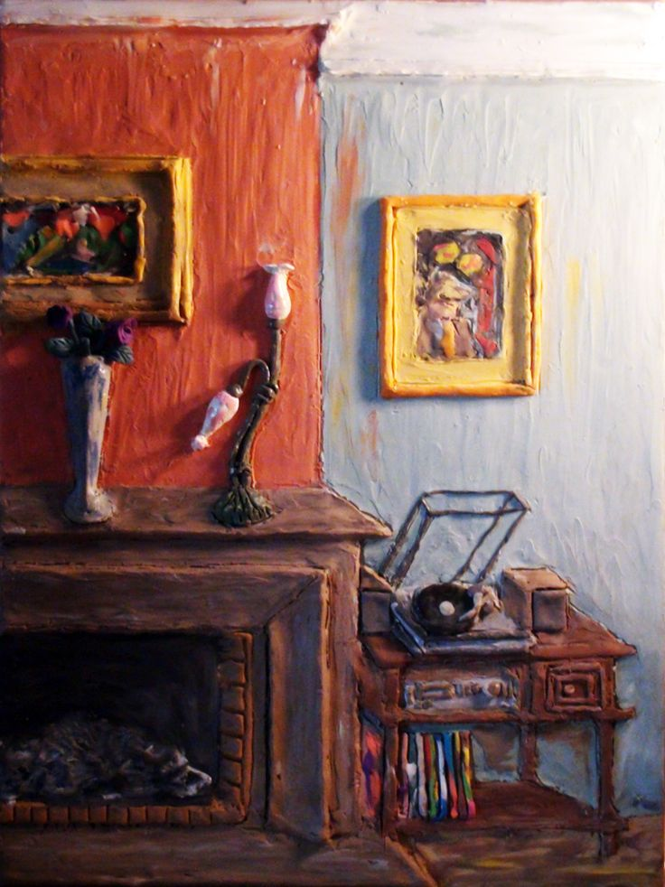 Plasticine Art - Living room with fireplace and music