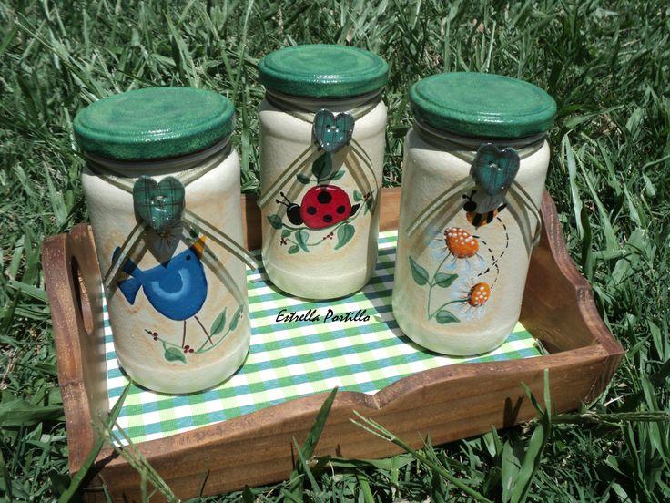 Frascos decorados para tu cocina pintura country pinterest for Decoracion de frascos de vidrio para cocina