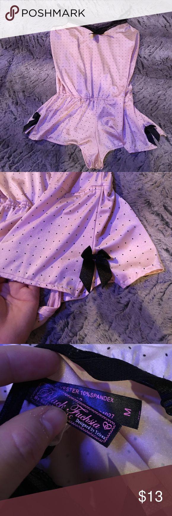 One piece sleeper Pink and polka dot one piece sleep wear super cute. New no tags sz medium. Intimates & Sleepwear Pajamas